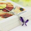 Μόδα μοβ ένθετο διαμάντι έντομο ασημένια κολιέ & μενταγιόν