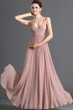 Λαιμόκοψη V Οι πτυχωμένες μπούστο Σιφόν Μέση αυτοκρατορία Βραδινά φορέματα