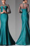 Φυσικό Χάντρες Μακρύ Μανίκι Ψευδαίσθηση Υψηλός λαιμός Βραδινά φορέματα