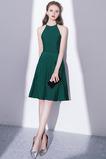 Ανάποδο Τρίγωνο Κόσμημα Γραμμή Α Κομψό Σατέν Κοκτέιλ φορέματα