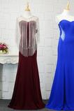 Φυσικό Ρομαντικό Θήκη Χάντρες Μακρύ εξώπλατο Βραδινά φορέματα