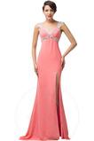 Γραμμή Α Μπροστινό Σκίσιμο Σιφόν Φυσικό Αμάνικο Βραδινά φορέματα