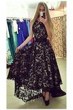 Ασύμμετρη Κομψό Αμάνικο Ασύμμετρη Δαντέλα Μπάλα φορέματα