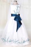 βάρκα Οργάντζα Χαμηλή Μέση Μικροκαμωμένη Λουλούδι κορίτσι φορέματα