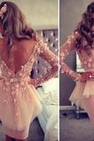 Μίνι Χάνει Φυσικό Τα μέσα πλάτη Μακρύ Μανίκι Κοκτέιλ φορέματα