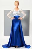 Μακρύ Μανίκι Φυσικό Καθαρή πλάτη Κουμπιά Βραδινά φορέματα