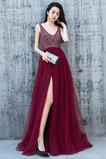 Χάντρες Βαθιά v-λαιμός Τούλι Λαιμόκοψη V Μπάλα φορέματα
