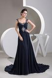 Τα μέσα πλάτη Αμάνικο Σιφόν Φυσικό Πλισέ Βραδινά φορέματα