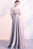Κομψό Γραμμή Α Σατέν Κοντομάνικο Κόσμημα τονισμένο μπούστο Βραδινά φορέματα