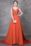Δαντέλα-επάνω Γραμμή Α Αμάνικο Φυσικό Σατέν Βραδινά φορέματα