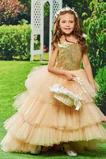 Λουλούδι κορίτσι φορέματα Κομψό & Πολυτελές υψηλή Χαμηλή κλιμακωτή Ασύμμετρη