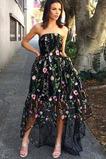 Μπάλα φορέματα Φερμουάρ επάνω Ασύμμετρη Αμάνικο Φθινόπωρο Ντραπέ Στράπλες
