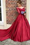 Ψευδαίσθηση Δαντέλα Μακρύ Μανίκι Από τον ώμο Μπάλα φορέματα