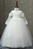 Υψηλός λαιμός Πολυτελές Γραμμή Α Φυσικό Ψευδαίσθηση Λουλούδι κορίτσι φορέματα