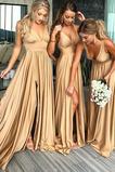 Λαιμόκοψη V εξώπλατο Φθινόπωρο Κομψό Τραίνο σκουπισμάτων Παράνυμφος φορέματα