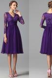 Φυσικό Μέχρι το Γόνατο Πολυτελές Μακρύ Μανίκι Βραδινά φορέματα