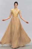 Υψηλός λαιμός Γραμμή Α Κοντομάνικο Μήκος πατωμάτων Βραδινά φορέματα