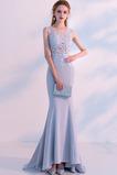 Φυσικό Κόσμημα Δαντέλα Καθαρή πλάτη Γοργόνα Βραδινά φορέματα
