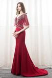 Χάντρες Χαλαρά μανίκια Σατέν Λαιμόκοψη V Βραδινά φορέματα