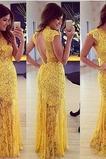 Δαντέλα Προσαρμοσμένες μανίκια Υψηλός λαιμός Βραδινά φορέματα
