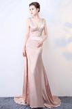 Σατέν Μήκος πατωμάτων Άνοιξη Λαιμόκοψη V Μπάλα φορέματα