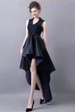 Φυσικό Λαιμόκοψη V Σατέν Αμάνικο υψηλή Χαμηλή Κοκτέιλ φορέματα