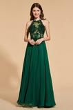 Γραμμή Α Κομψό Δαντέλα επικάλυψης Κόσμημα Βραδινά φορέματα
