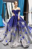 Μπάλα φορέματα Μακρύ Κοντομάνικο Έναστρο παγιέτες μπούστο Δαντέλα-επάνω
