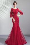 Βραδινά φορέματα Χάντρες Δαντέλα-επάνω Χειμώνας Φυσικό Λαμπερό & δραματική