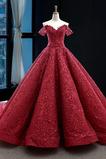Μπάλα φορέματα Έτος 2019 Προσαρμοσμένες μανίκια Δαντέλα-επάνω Ανάποδο Τρίγωνο