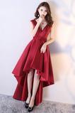 Δαντέλα-επάνω Αμάνικο Λαιμόκοψη V Κομψό Σατέν Μπάλα φορέματα