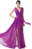 Πολυτελές Γραμμή Α Σιφόν Φυσικό Αμάνικο Πλισέ Βραδινά φορέματα