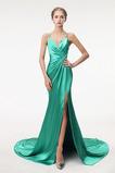 Λαιμόκοψη V Πολυτελές Σατέν Φυσικό Οι πτυχωμένες μπούστο Μπάλα φορέματα
