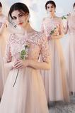 Μισό Μανίκι Μέση αυτοκρατορία Κομψό Ντραπέ Παράνυμφος φορέματα