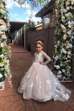 Λουλούδι κορίτσι φορέματα Φυσικό Φερμουάρ επάνω Κόσμημα Δαντέλα επικάλυψης Διακοσμητικά Επιράμματα