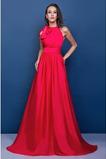 Ελαστικό σατέν Γραμμή Α Κόσμημα Φυσικό Πλισέ Βραδινά φορέματα