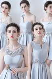 Χάνει Γραμμή Α Λαιμόκοψη V Σατέν Μέχρι το Γόνατο Παράνυμφος φορέματα