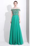 Λάμψη Φυσικό Μικροκαμωμένη Ντραπέ Σιφόν Από τον ώμο Βραδινά φορέματα