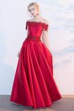 Από τον ώμο Χάνει Κοντομάνικο Γραμμή Α Δαντέλα επικάλυψης Βραδινά φορέματα
