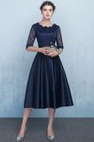 Κόσμημα Χάνει Γραμμή Α Ψευδαίσθηση Δαντέλα επικάλυψης Παράνυμφος φορέματα