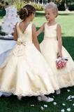 Τονισμένα τόξο Μέχρι τον αστράγαλο Μικροκαμωμένη Λουλούδι κορίτσι φορέματα