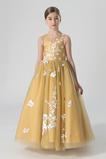 Φυσικό Χάνει Κόσμημα Γραμμή Α Δαντέλα επικάλυψης Λουλούδι κορίτσι φορέματα
