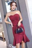 Αμάνικο εξώπλατο Σατέν Γοργόνα Χάνει κούνια Κοκτέιλ φορέματα