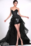 Σιφόν Μαύρο φύλλο Φυσικό Φερμουάρ επάνω σύγχρονος Κοκτέιλ φορέματα