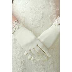 Σατέν Ιβουάρ Δαντέλα Πλήρη δάχτυλο Διακόσμηση Γάντια γάμου