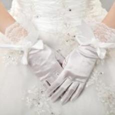 Ρετρό Ταφτάς Τόξο Πλήρη δάχτυλο Εκκλησία Γάντια γάμου