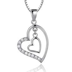 Ασημένια σε σχήμα καρδιάς γυναίκες Σύντομη ένθετο διαμάντι κολιέ & μενταγιόν