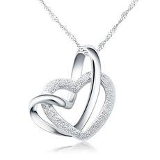 Απλές γυναίκες ασημένιο διπλή καρδιά κλείδα & Μενταγιόν