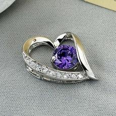 μωβ ασημένια καρδιά σχήμα κοσμήματα ένθετο διαμάντι Γυναίκες κολιέ & μενταγιόν