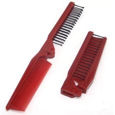 κόκκους ξύλου το κόκκινο Πτυσσόμενος Πολυλειτουργική φορητό μικρό Καθρέφτης & Χτένα